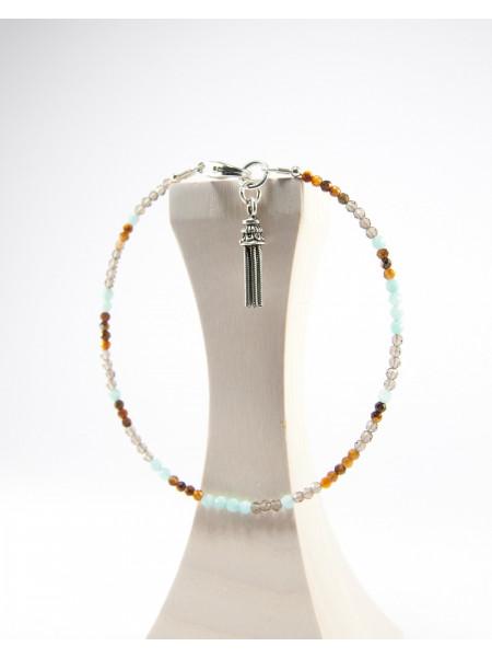 Bracelet Oeil de tige, Quartz fumé et Amazonite