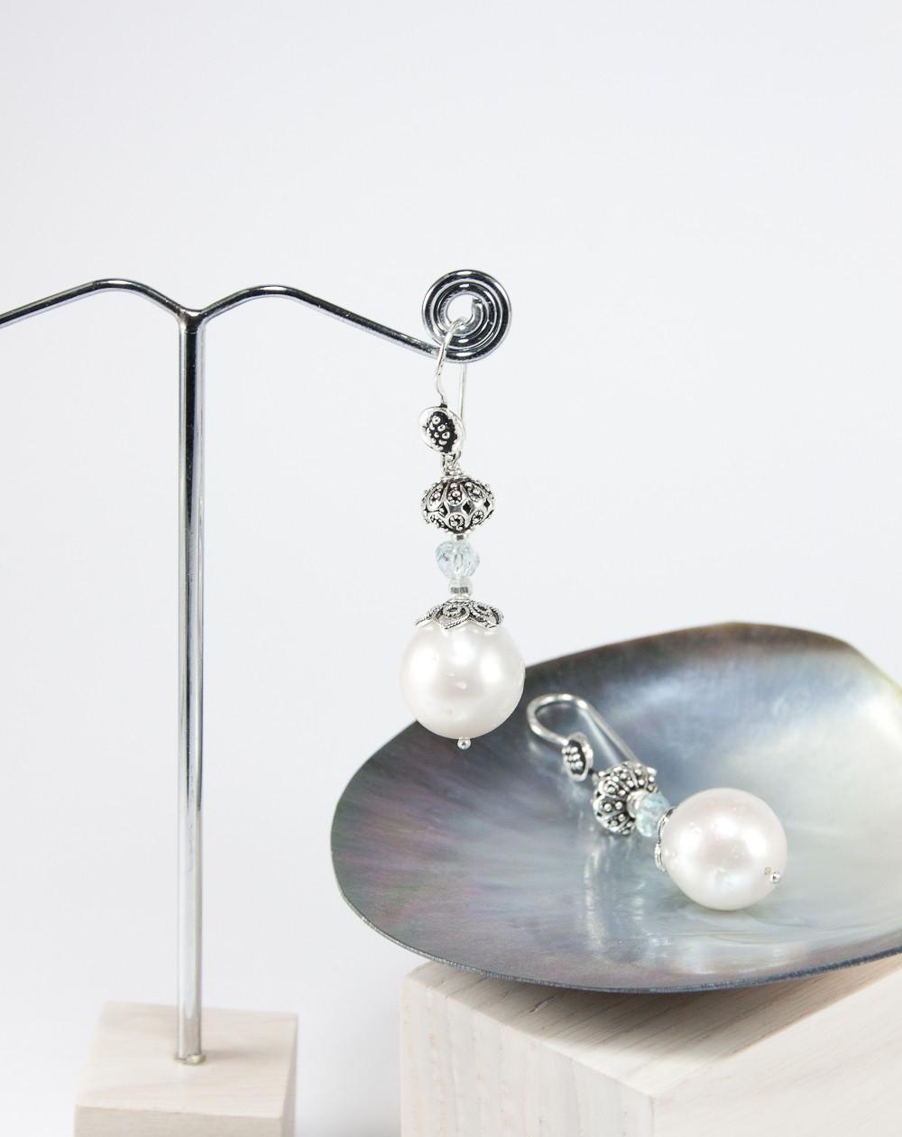 Boucles d'oreilles en perle d'eau douce et aigue marine