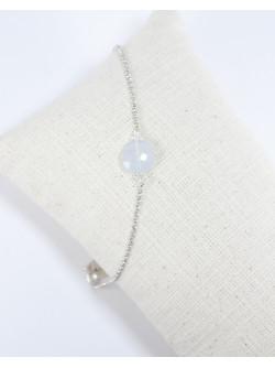 Bracelet en calcédoine, bijoux en pierre naturelle, Artisan bijoutier, Sanuk Création