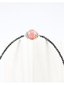 Bracelet en spinelle noir et rhodochrosite, créateur de bijoux en pierre semi précieuse