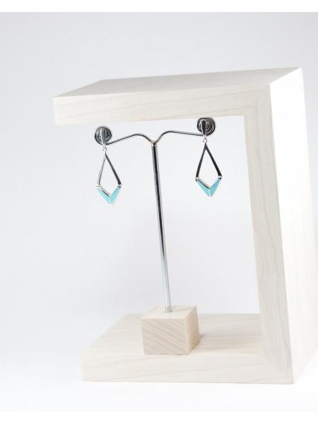 Boucles d'oreilles triangle en turquoise d'Arizona, atelier boutique en France