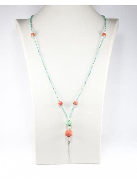 Sautoir en turquoise et corail, fabrication artisanal