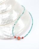 Collier en turquoise et corail éponge