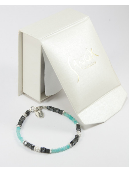 Bracelet en amazonite réalisé a Bayonne