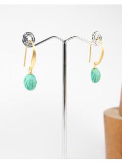 Boucles d'oreilles plaqué or, scarabée en turquoise