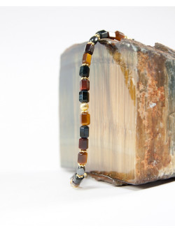 Bracelet en oeil de tigre et hématite, Sanuk création