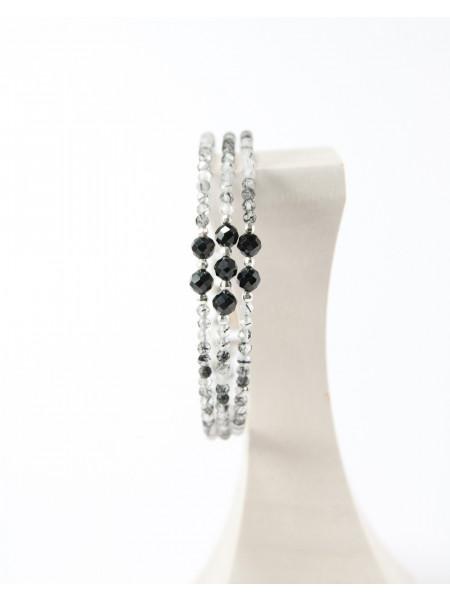 Bracelet triple en quartz tourmaliné, sanuk création