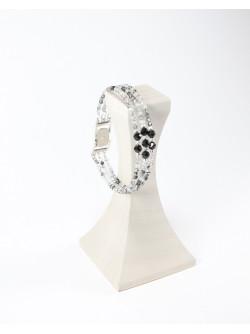 Bracelet triple en quartz tourmaliné, et spinelle noir