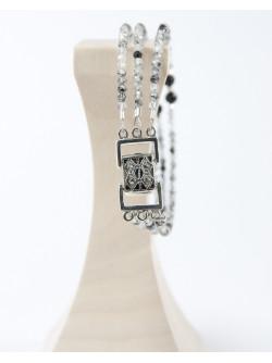 Bracelet triple en quartz tourmaliné, et spinelle noir, Sanuk création