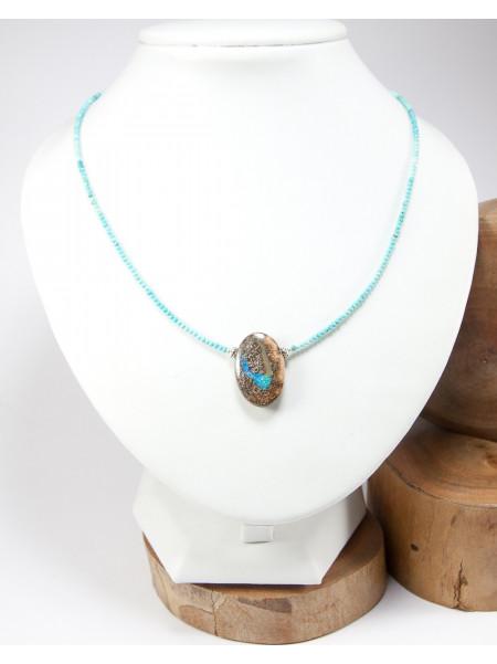 Collier en opale et turquoise