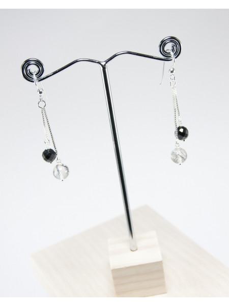 Boucles d'oreilles doubles en Quartz tourmaliné et spinelle noir