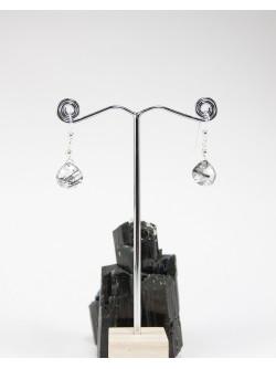 Boucles d'oreilles en goutte de quartz tourmaliné
