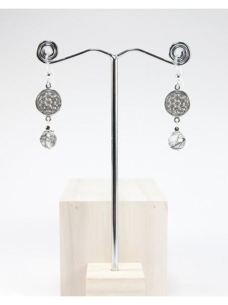 Boucles d'oreilles en quartz tourmaline, fleur de vie