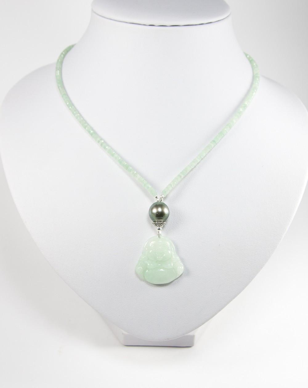 Collier Amazonite, bouddha en jade, perle de Tahiti
