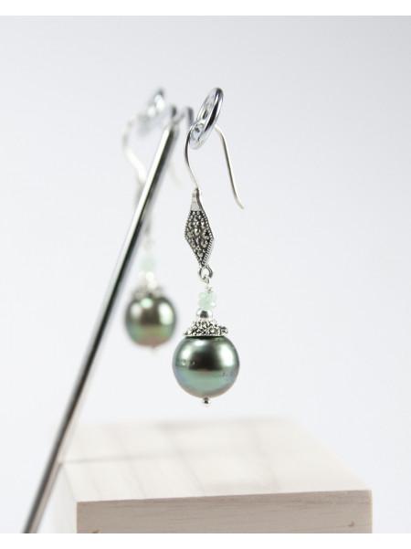 Boucles en Marcassite et perles de Tahiti, Sanuk création