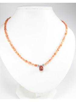 Collier en pierre de soleil naturelle et jaspe rouge