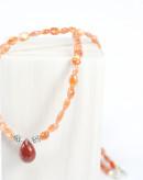 Collier en pierre de soleil naturelle et jaspe sanguin, Sanuk creation