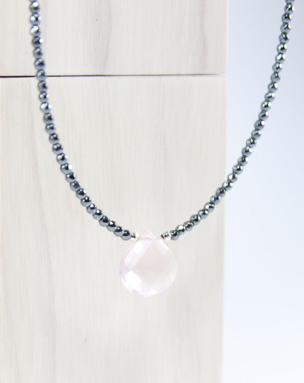 Collier en pierres naturelles, hématite et quartz rose