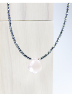 Collier en pierres naturelles, hématite et quartz rose
