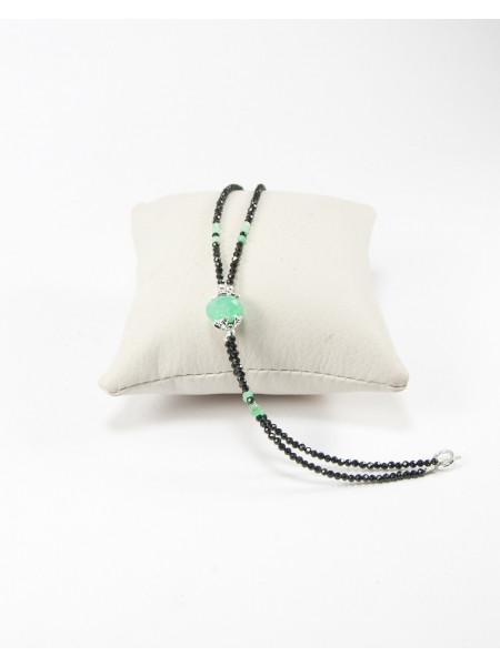 Bracelet en spinelle noir et chrysoprase