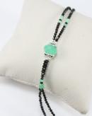 Bracelet double en spinelle noir et chrysoprase