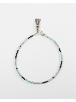Bracelet en pierres naturelles , spinelle noir, labradorite, apatite