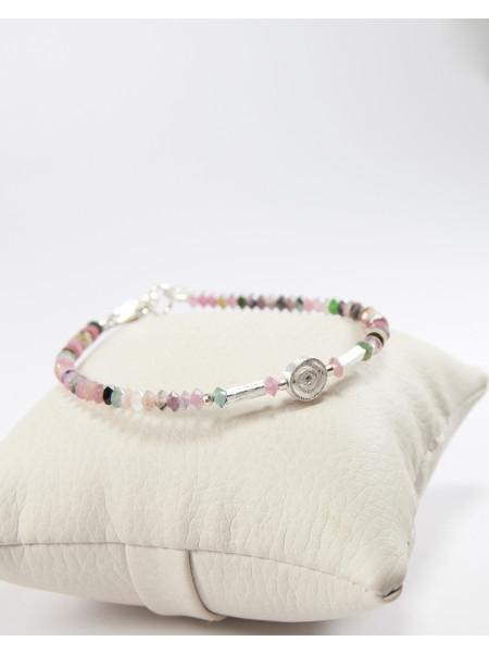Bracelet en tourmaline , spirale en argent brossée