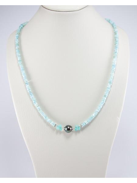Collier en Larimar et perle de Tahiti