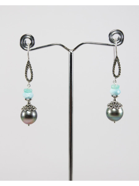 Boucles d'oreilles en perle de Tahiti, Amazonite
