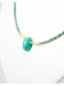 Collier scarabée turquoise