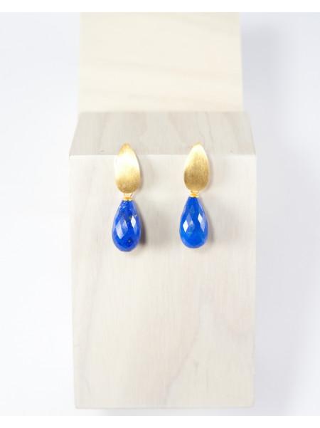 Boucles d'oreilles puce grain de riz, lapis Lazuli