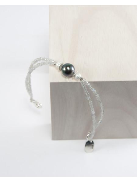Bracelet double en labradorite et perle de Tahiti