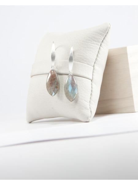 Boucles d'oreilles en argent brossé, labradorite