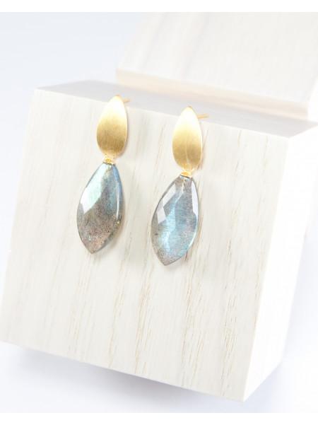 Boucles d'oreilles en Labradorite, argent plaqué or mat