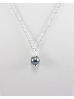 Collier fin en Labradorite et perle de Tahiti