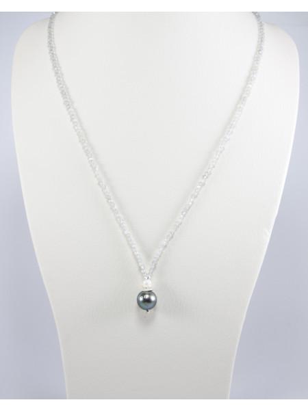 Collier labradorite, perle de Tahiti