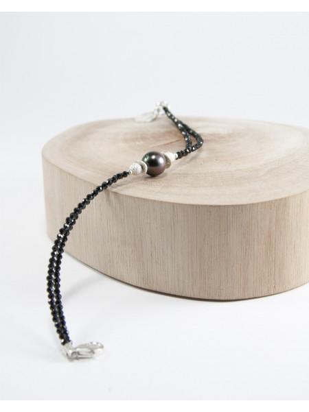 Bracelet double en spinelle et perle de Tahiti