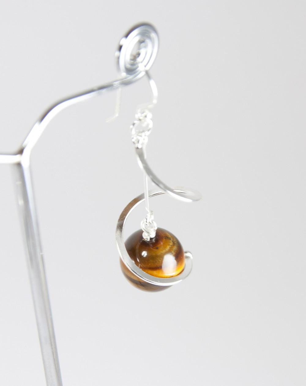 Boucles d'oreilles torsadé en argent, Oeil de tigre, Sanuk Création, Bayonne