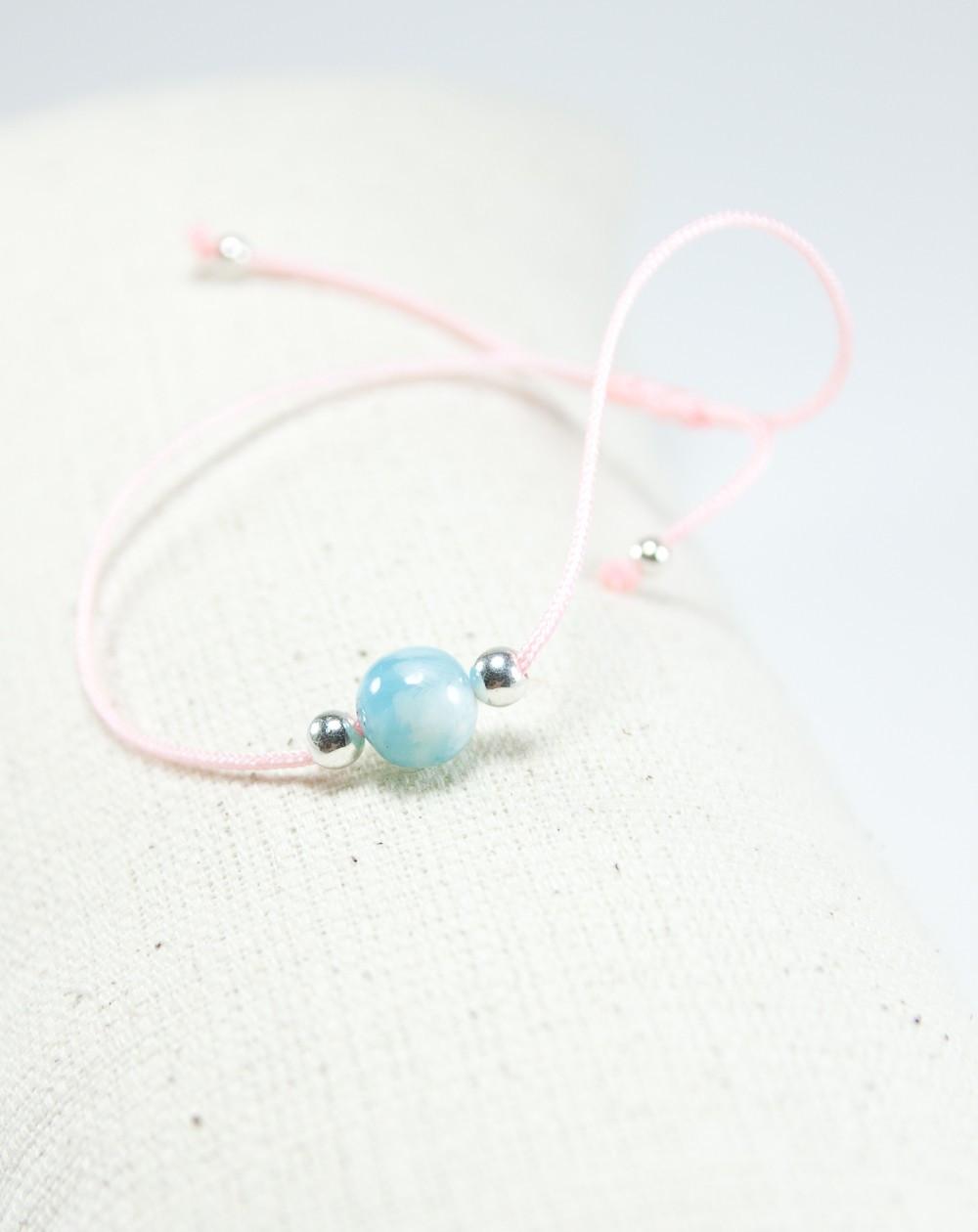 Bracelet métamorphose larimar, cordon rose, Sanuk Création