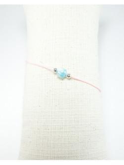Bracelet de la métamorphose, cordon rose et Larimar, Sanuk Création