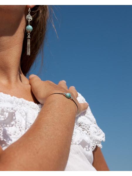 Bracelet cordon noir, métamorphose, Larimar