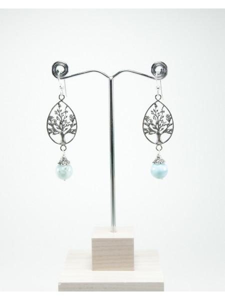 Boucles d'oreilles en Larimar, arbre de vie en argent