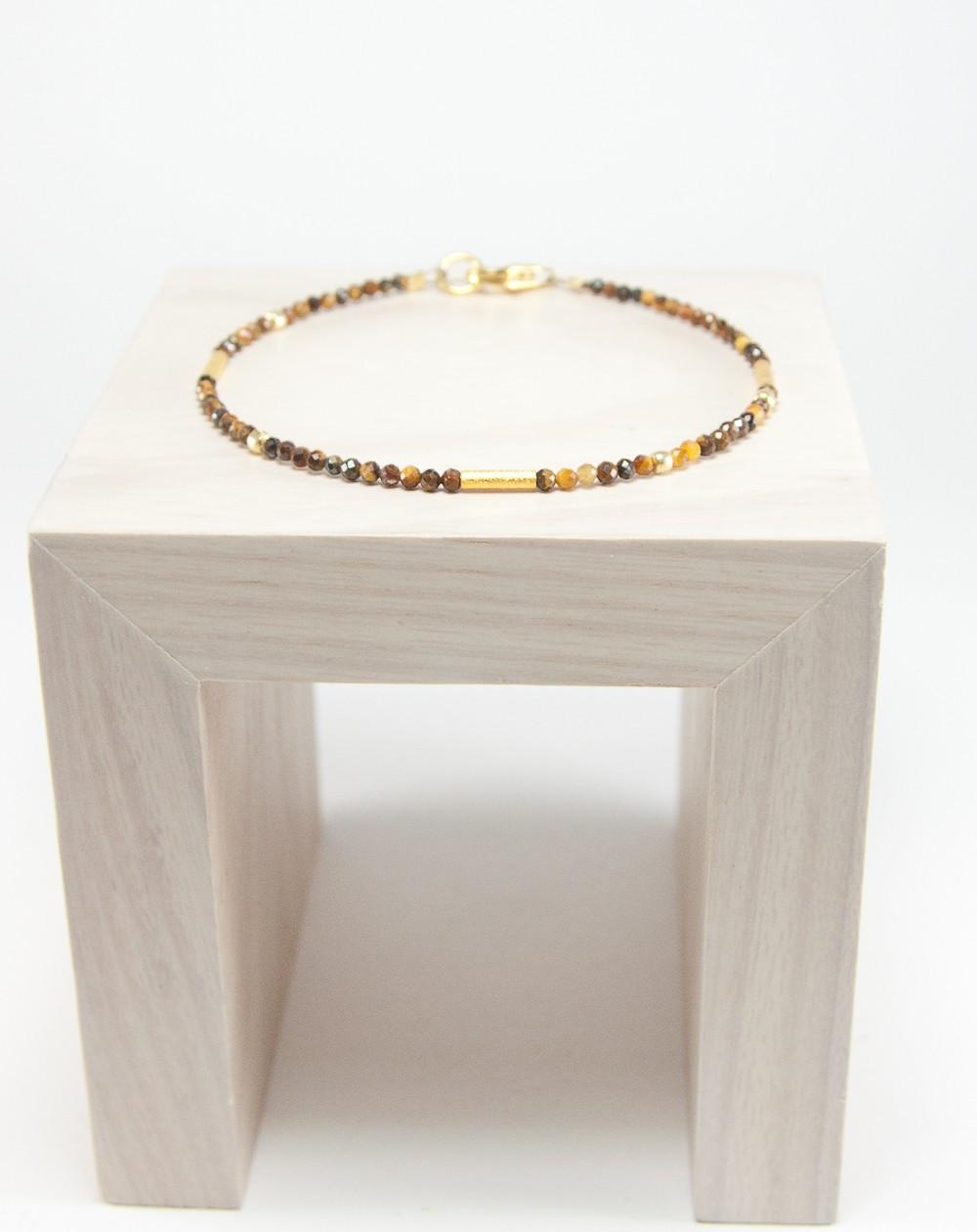 Bracelet en oeil de tigre, collection épure