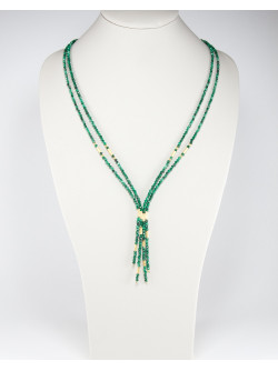 Collier 2 rangs, collection épure Sanuk Création, Malachite