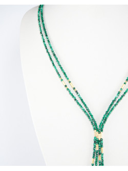 Collier 2 rangs, collection épure Sanuk, Malachite
