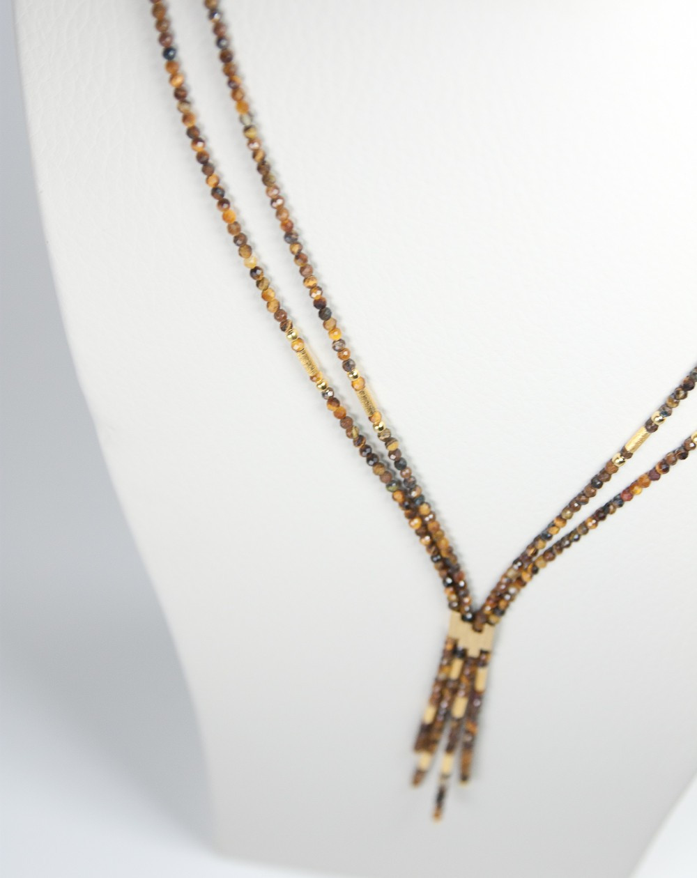 Collier 2 rangs en Oeil de tigre, Collection épure, Sanuk création