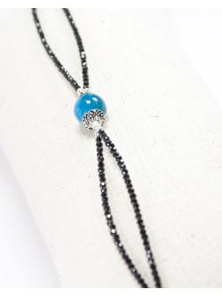 Bracelet double en Spinelle noir et Apatite