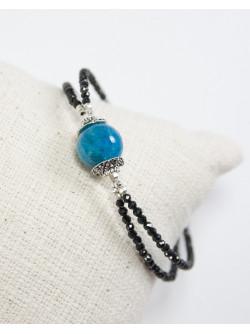 Bracelet double en Spinelle noir et Apatite, Sanuk Création