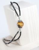 Bracelet double spinelle noir et Oeil de tigre, Sanuk Bayonne
