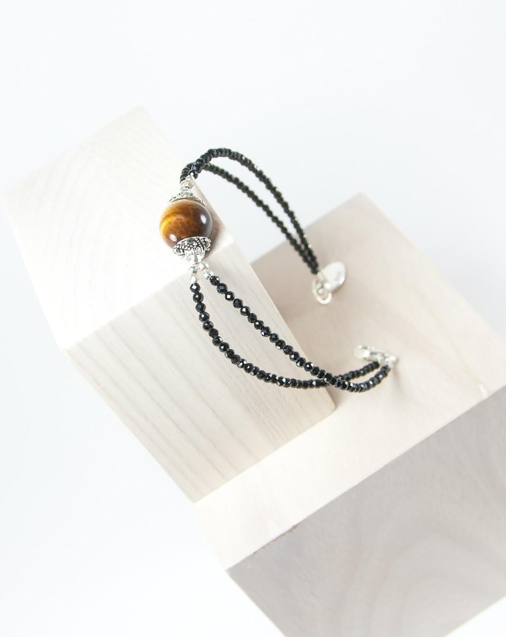 Bracelet double spinelle noir et Oeil de tigre, Sanuk Création